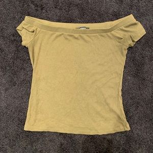 Ambiance Olive Green Off the Shoulder Crop Top!